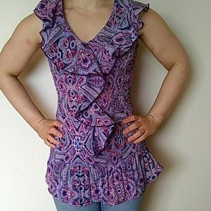 COMO ruffled sleeveless top large
